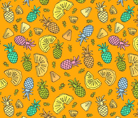 Pineapple Mix On Orange fabric by ornaart on Spoonflower - custom fabric