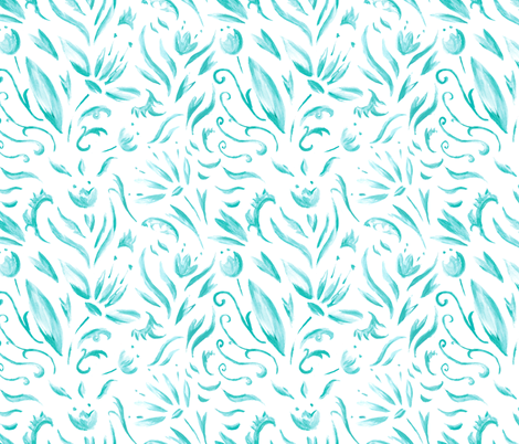 Turquoise fantasy fabric by kisikoida on Spoonflower - custom fabric
