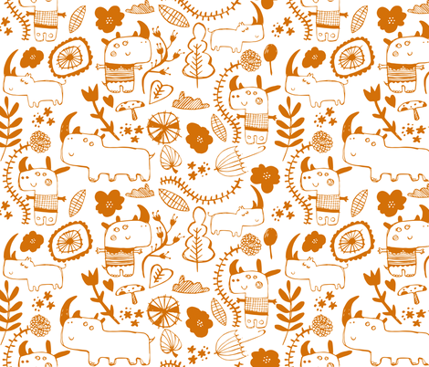 Rhinosceros - orange fabric by laurawrightstudio on Spoonflower - custom fabric