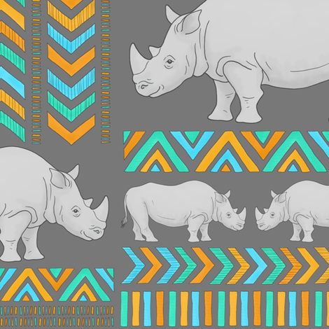 Tribal Rhinos - larger scale fabric by hazel_fisher_creations on Spoonflower - custom fabric