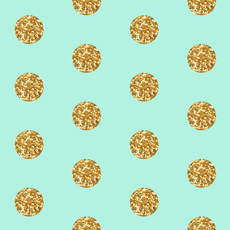Glitter Dots Beaucoup! on Mint fabric by willowlanetextiles on Spoonflower - custom fabric