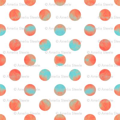 Watercolor Dots in Aqua and Coral
