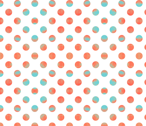 Watercolor Dots in Aqua and Coral fabric by willowlanetextiles on Spoonflower - custom fabric