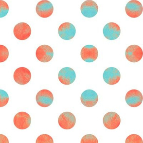 Watercolor Dots in Aqua and Coral