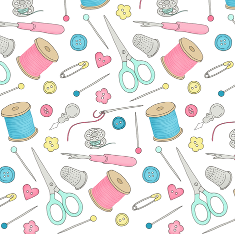 Sewing Notions 1 - mixed notions fabric by hazel_fisher_creations on Spoonflower - custom fabric