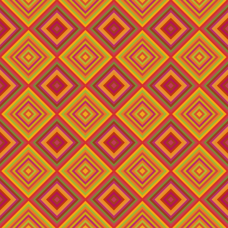 Orange Red Green Diamond Geometric fabric by gingezel on Spoonflower - custom fabric