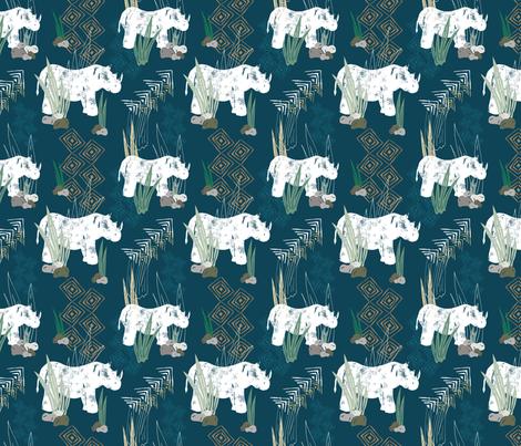 Rhino STAMPede fabric by radianthomestudio on Spoonflower - custom fabric