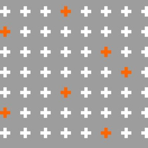 Pluses in gray and orange // Plus, Swiss cross