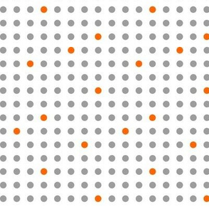 Polka Dots in Gray and Orange