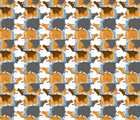 Fluffy Pems posing - blue fabric by rusticcorgi on Spoonflower - custom fabric