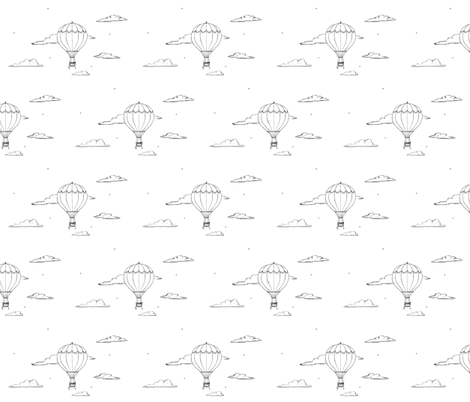 Hot Air Balloon in Black and White fabric by carabaradesigns on Spoonflower - custom fabric