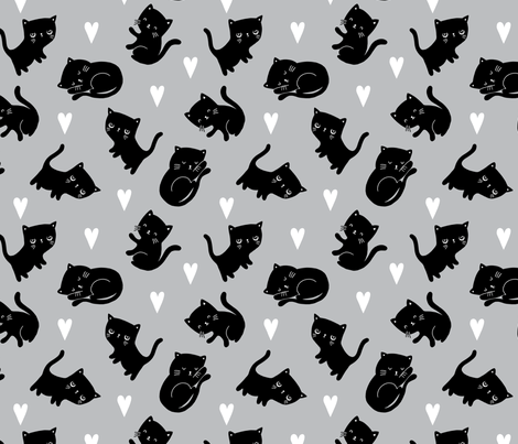 Black Cat-Grey Colorway fabric by myzoetrope on Spoonflower - custom fabric