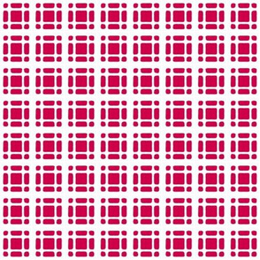 Double Windowpane Check   -Red on White