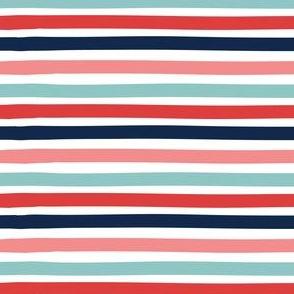 Stripe - dark blue, aqua, pink, red
