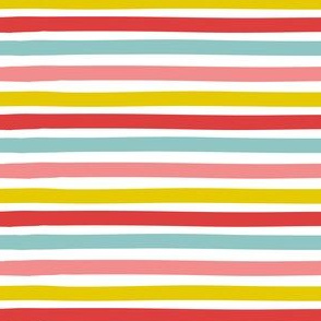 Stripe - red, aqua, mustard, pink