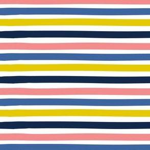Stripe - dark blue, blue, pink, mustard