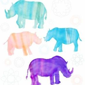 Tie-dye Four Rhinos