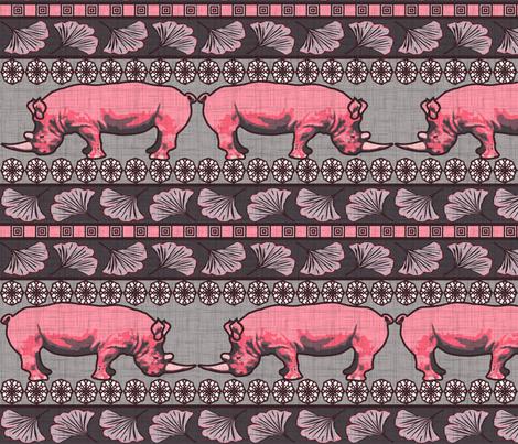 Algernon the rhino fabric by olga_munro on Spoonflower - custom fabric