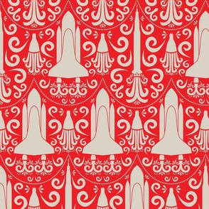 Rocket Science Damaks (Red and Beige)