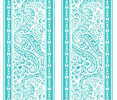 IKAT_CACHEMIRE_runner_135x45_TURQUOISE fabric by ginger&cardamôme on Spoonflower - custom fabric