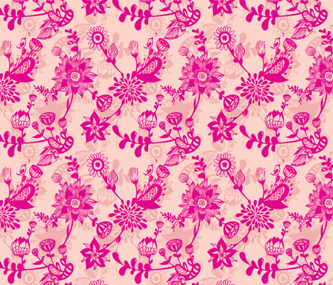 Hot pink florals on peach background fabric by smileysunday on Spoonflower - custom fabric