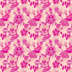 Hot pink florals on peach background