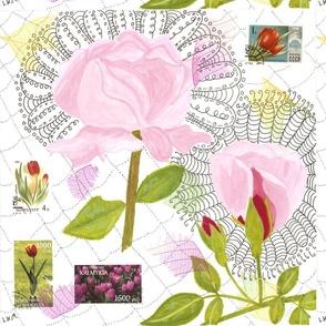 Pink rose collage