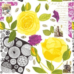 Yellow rose collage