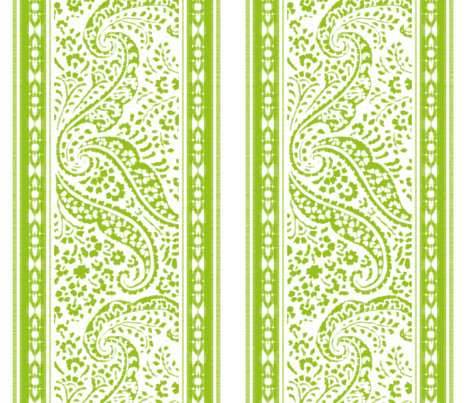 IKAT_CACHEMIRE_runner_135x45_APPLE_GREEN_ fabric by ginger&cardamôme on Spoonflower - custom fabric