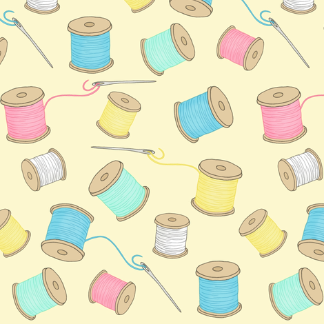 Sewing Notions 4 - spools of thread fabric by hazel_fisher_creations on Spoonflower - custom fabric