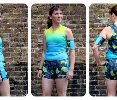 "Duathlon Shorts ""Maps"" in citrine/black"