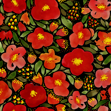 Dark Floral Watercolor Red Poppy Flower fabric by laurawrightstudio on Spoonflower - custom fabric