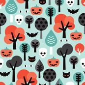 Crazy halloween pumpkin cat and skull illustration pattern