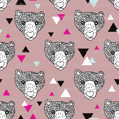 Woodland geometric grizzly bear doodle illustration pattern