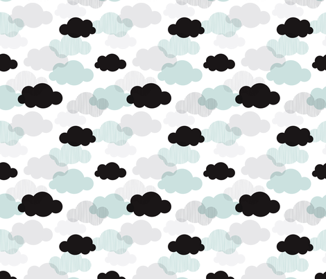 Dreamy sky and pastel clouds scandinavian sky  fabric by littlesmilemakers on Spoonflower - custom fabric