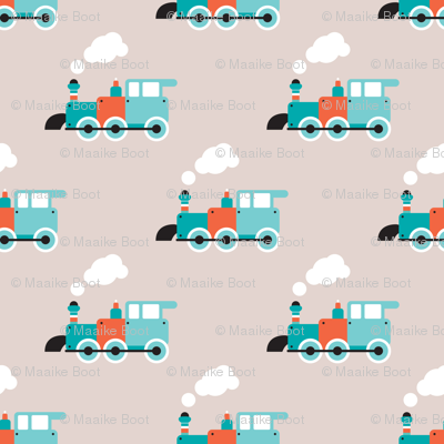 Vintage steam train illustration kids pattern fabric for Fabric with trains pattern