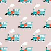Vintage steam train illustration kids pattern