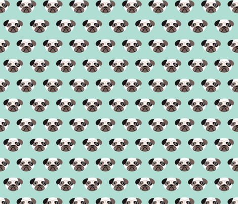 Pug The Blue Puppy Illustration Kids Pattern Fabric By Littlesmilemakers On Spoonflower