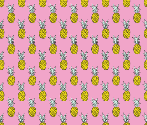 Hot summer pineapple pink tropical summer fruit trend fabric by littlesmilemakers on Spoonflower - custom fabric