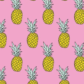 Hot summer pineapple pink tropical summer fruit trend