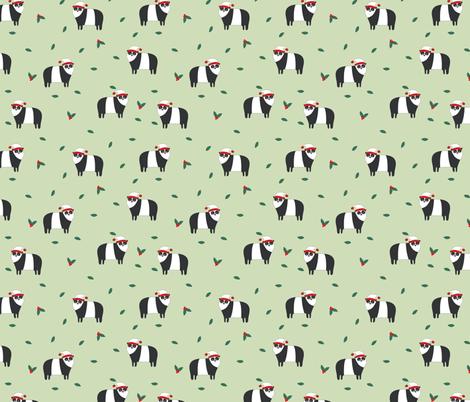 Christmas panda fabric by laurawrightstudio on Spoonflower - custom fabric