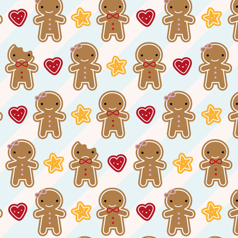 Cookie Cute Gingerbread Men fabric by marcelinesmith on Spoonflower - custom fabric