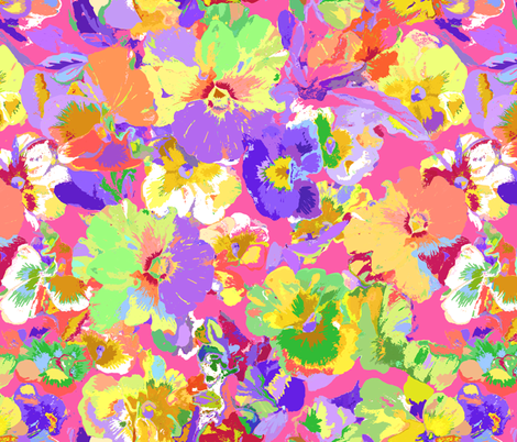 Pinky Pansies fabric by designed_by_debby on Spoonflower - custom fabric