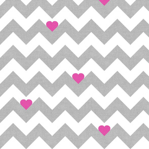 Heart & Chevron - Grey/Pink Canvas
