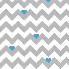 Heart & Chevron - Grey/Blue Canvas