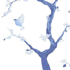 Jenny Cherry Blossoms in delft blue