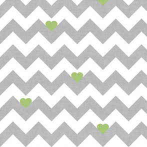 Heart & Chevron - Grey/Green Canvas