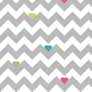 Heart & Chevron - Grey/Multi Canvas