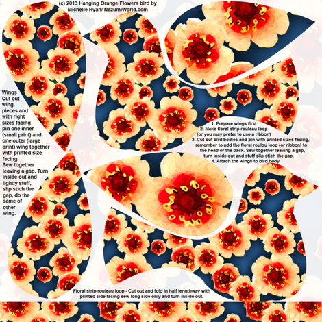 Hanging Flowerbirds Orange Flowers Print fabric by nezumiworld on Spoonflower - custom fabric
