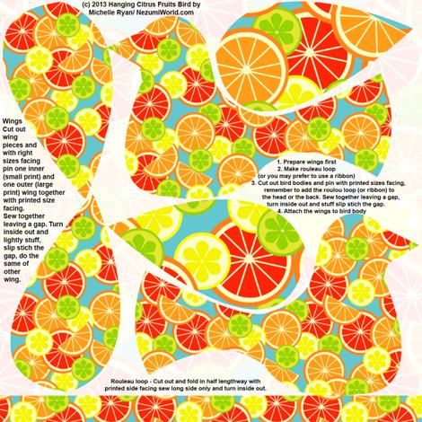 Hanging Flowerbirds Citrus Print fabric by nezumiworld on Spoonflower - custom fabric